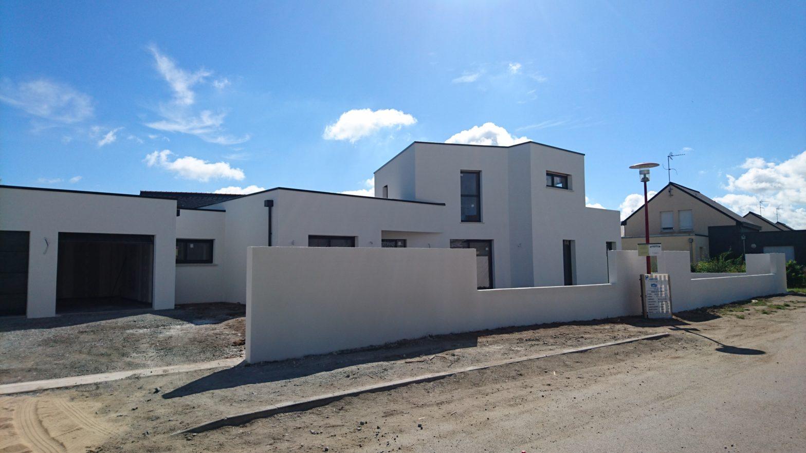 maison etage r+1 toit terrasse plat 49220 grez neuville