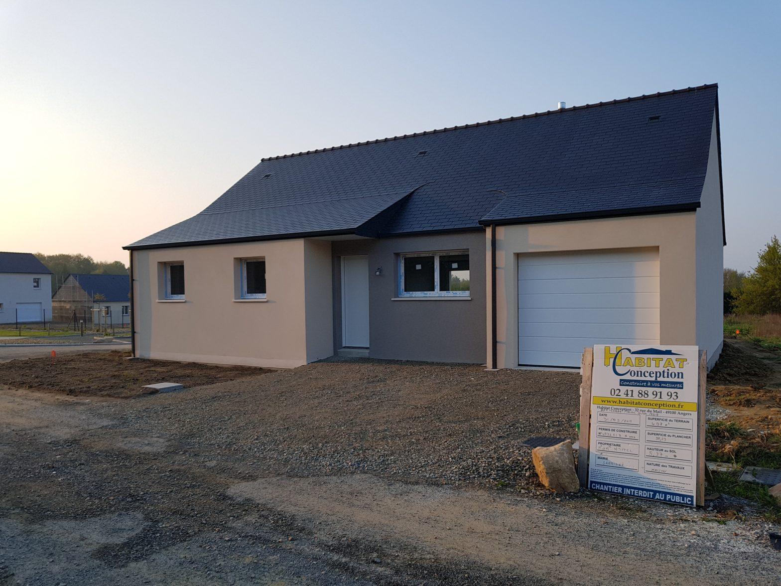 maison plain-pied toiture ardoise andard 49800